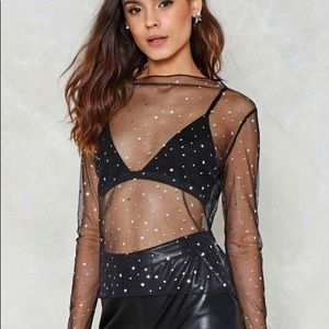 Star and moon mesh nasty gal top